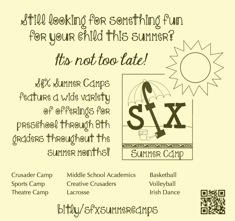 SFX Summer Camp Reminder